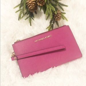 Michael Kors Fuschia Double Zip Wristlet